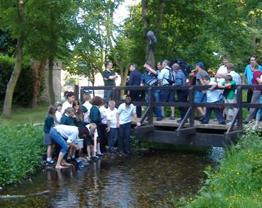 Filming of the trout release at Meades Water Gardens