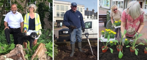 Chesham in Bloom volunteers planting flowerbeds