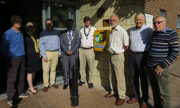 Lions and Councillors at the unveiling of the AED