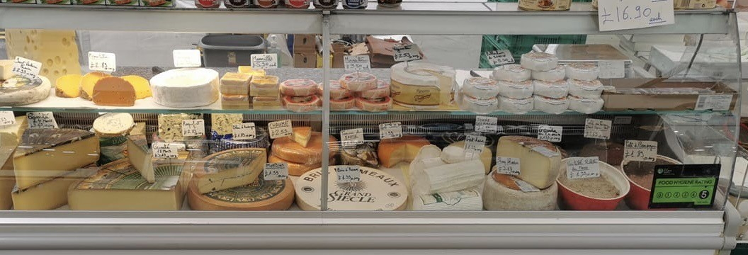 Display of French cheeses