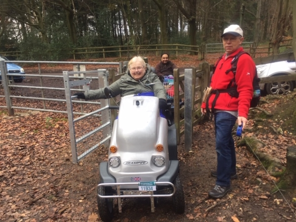 A wheelchair user in Hockeridge Wood