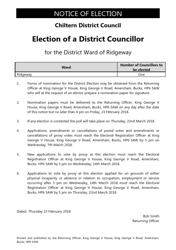 District Election Notice for Ridgeway Ward